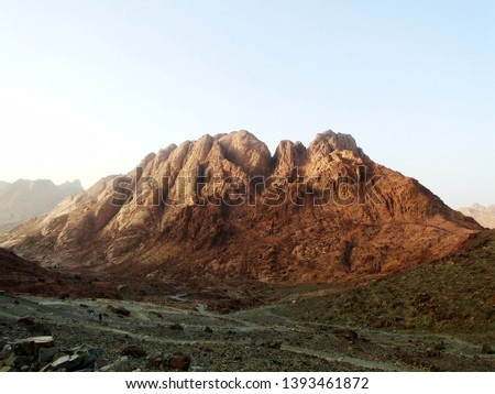 Mount Sinai, known as Mount Horeb or Gabal Musa, is a mountain in the Sinai Peninsula of Egypt that is a possible location of the biblical Mount Sinai, considered a holy site by the Abrahamic religion #1393461872