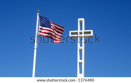 Mount Soledad Veteran Memorial Cross and American Flag, La Jolla - San Diego California