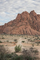 Mount Spitzkoppe, formed when part of a giant volcano collapsed, resulting in many interesting and bizarre rock formations