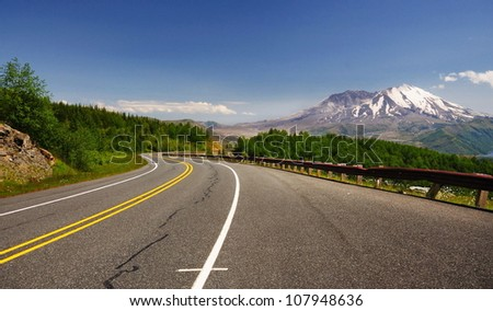 Mount st helens from road - stock photo