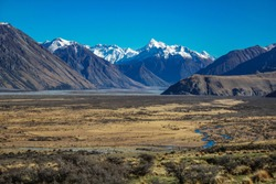 Mount Sunday landscape, scenic view of Mount Sunday and surroundings in Ashburton Lakes District, South Island, New Zealand
