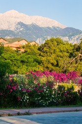 Mount Tahtali in Turkey in the ridge of the Taurus Mountains. View from the Mediterranean Sea from the bay of the village of Camyuva in the province of Antalya.