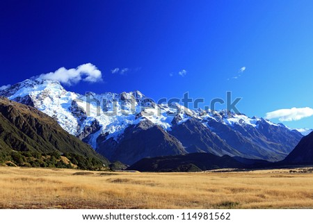 Mount Tasman Valleys , Aoraki Mt Cook national park Southern Alps mountain South Island New Zealand