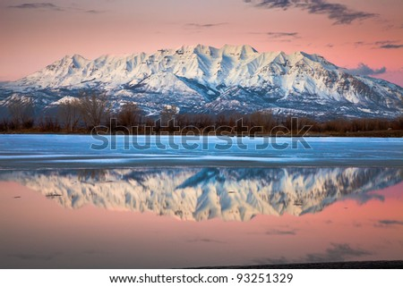 Mount Timpanogos at Dusk Reflecting off Icy Lake