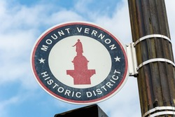 Mount Vernon Historic District sign in Baltimore, Maryland, United States of America.