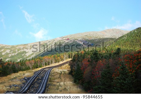 Mount Washington Cog Railroad in White Mountain in fall, New Hampshire, USA