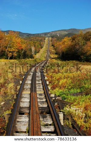 Mount Washington Cog Railroad to the peak, New Hampshire, USA