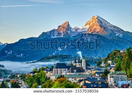 Mount Watzmann and the city of Berchtesgaden in the Bavarian Alps