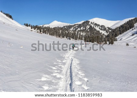 Mountain Altai in winter, ski trismus, mountains in winter Stock fotó ©