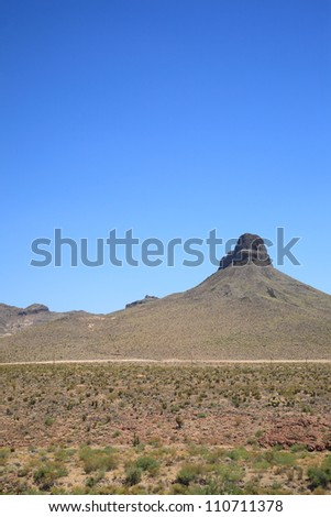 Mountain and Desert Landscape in Arizona, with blue sky and copy space.