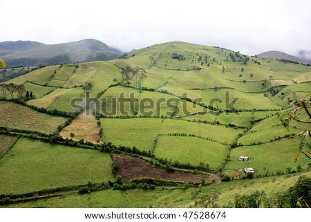 Mountain and fields in central Ecuador