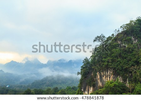 Mountain and forest  view in the morning with copy space, Thailand. #478841878