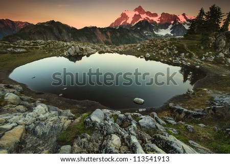 Mountain and lake at sunset