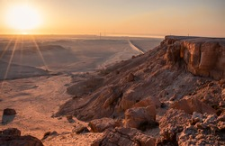 Mountain and rocks in desert with sunrise view at Multa Ridge in Kuwait