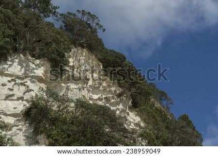 Mountain at Cathedral Cove beach. Coromandel Peninsula