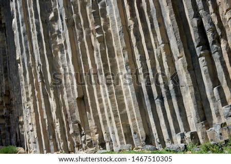 Mountain basalt formations in the form of hexagonal columns, a unique geological formation. #1467510305
