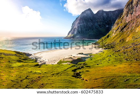 Mountain beach landscape