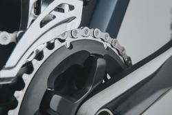Mountain bike crankset close up view.