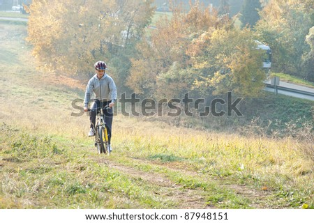 mountain bike race in the meadow