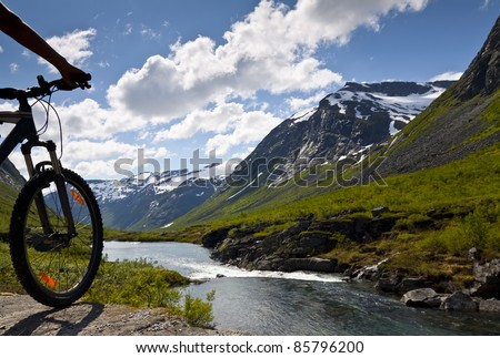 Mountain bike rider view on Norway landscape #85796200