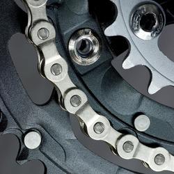 Mountain bike three chainring crankset with  chain