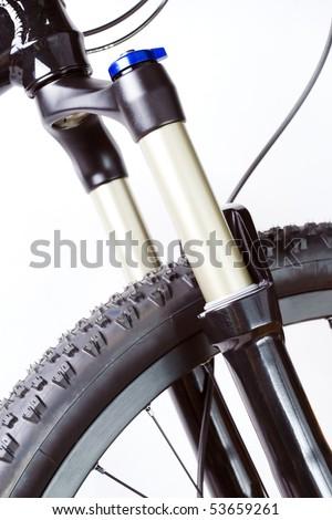 ... photo-mountain-bike-wheel-with-suspension-fork-on-white-background