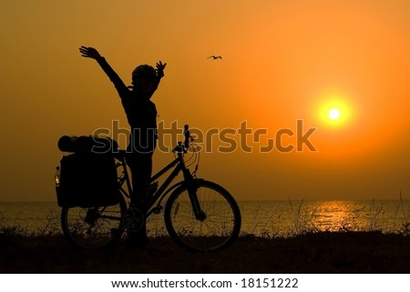 stock photo : Mountain biker girl silhouette. Save to a lightbox ▼