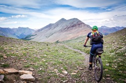 Mountain biker on the Colorado Trail near Silverton, CO.