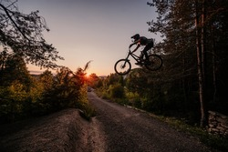 Mountain biker riding on bike in summer mountains forest landscape. Outdoor sport activity.