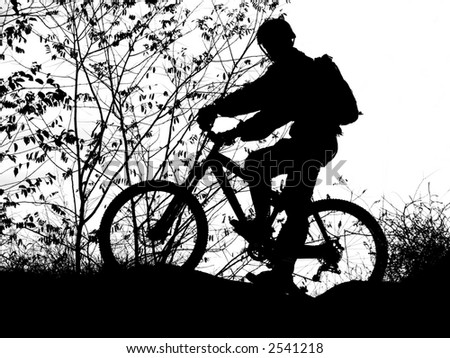 mountain biker silhouette with clean sky (this silhouette for use as a backdrop or graphic)