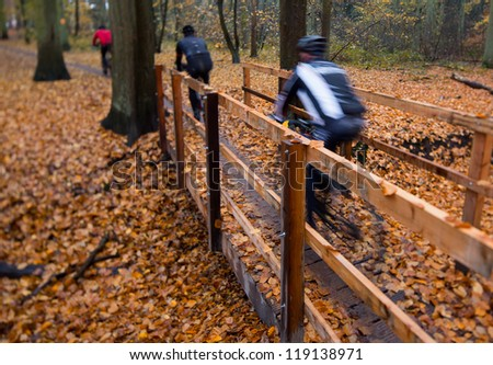 Mountain bikers, cyclist, speeding and crossing a bridge in beautifully colored autumn woods filled with fog, unrecognizable by motion blur