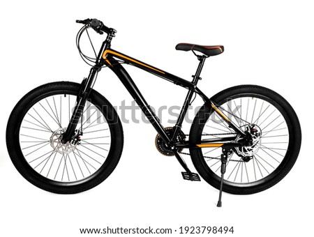 Mountain black bike bicycle isolated white background Stockfoto ©