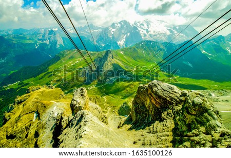Mountain cable car panorama view. Cable car in mountains. Mountain cable car