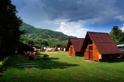 Mountain camping wooden houses