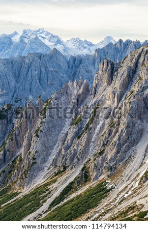 Mountain canyon landscape with high peaks in the Alps