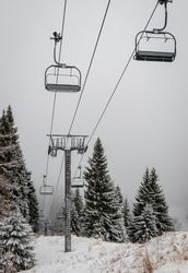 Mountain chair lift system closed due to high winds