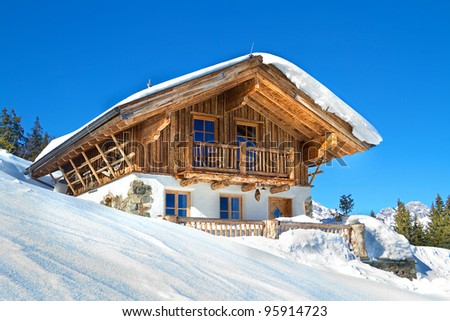 Mountain chalet in alps