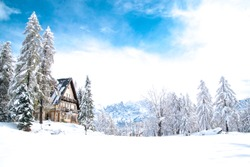 Mountain Chalet with fresh snow, winter in dolomites
