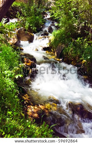 Mountain clean water spring between rocks and green grass