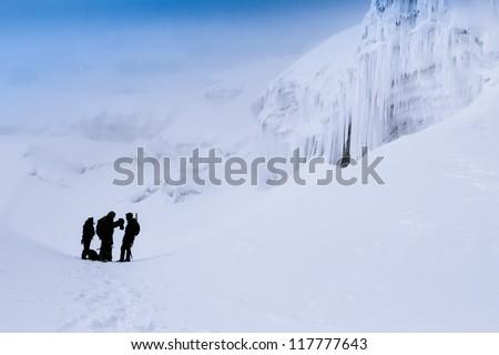 Mountain climbers at the slopes of Cotopaxi volcano in Ecuador