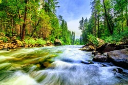 Mountain Creek flowing through green forest with the sky, in the Yosemite National Park, California