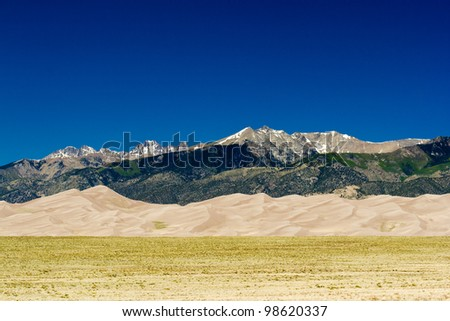 Mountain Desert landscape scene in Great Sand Dunes National Park, Colorado USA - stock photo