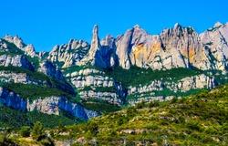 Mountain edge range landscape. High rocks mountains. Mountain edge high rocks