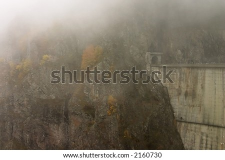Mountain entrance over Vidraru Dam - Romania, 166 m hight, 465 millions mc, build in 1966