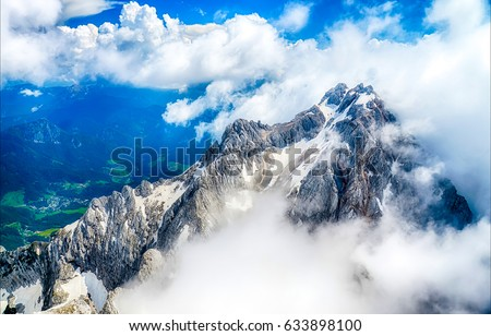 Mountain fog peak landscape #633898100
