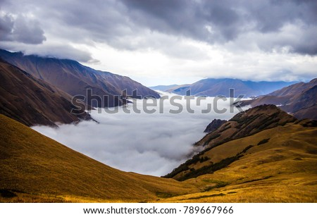 Mountain fog sky clouds landscape. Mountain water fog valley. Fog in mountain valley view #789667966