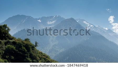 mountain foggy view Himachal pradesh india.