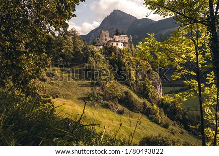 Mountain forest castle rock. Castle rock in mountains. Mountain castle landscape. Castle in mountain forest