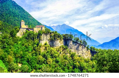 Mountain forest castle rock view