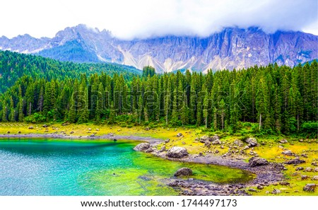 Mountain forest lake landscape view